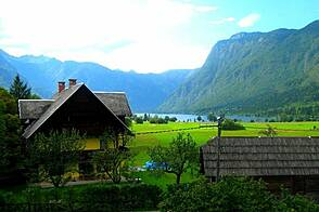 Quaint pension on the shores of lake Bohinj